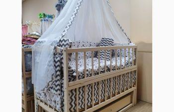 Акция на полный комплект для сна! Кроватка маятник Малыш ваниль, матрас кокос, постель, Харьков
