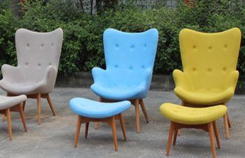 Кресло Флорино с пуфом под ноги, цвет пачворк, коричневый, голубой, Днепр