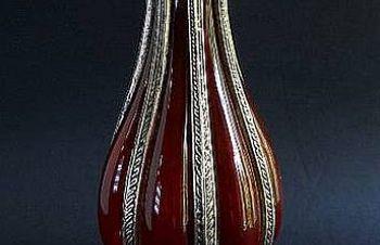 Винтажная интерьерная ваза — латунь/стекло, Теофиполь