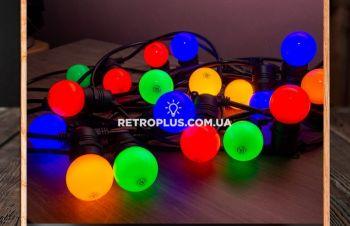 Уличная Ретро Гирлянда Тесла с круглым проводом с разноцветными лампами по 1.2Вт- гірлянда, Киев