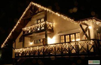 Новогоднее украшение, оформление дома, оформление зданий гирляндами, новогоднее освещение, Киев