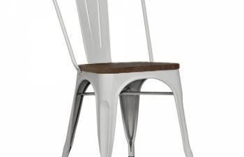 Стул из металла Толикс Вуд, сидение деревянное, глянцевый серый, Днепр