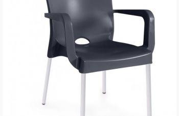 Стул ФЛОРА, пластиковое сиденье, цвет черный, Днепр