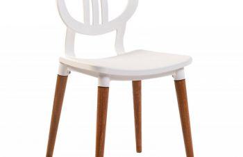 Стул Turin (Турин), деревянные ножки, бук, пластиковое сиденье, цвет белый, Днепр